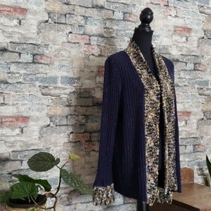 NEW CJ BANKS Blue Open Front Cardigan Size 1x